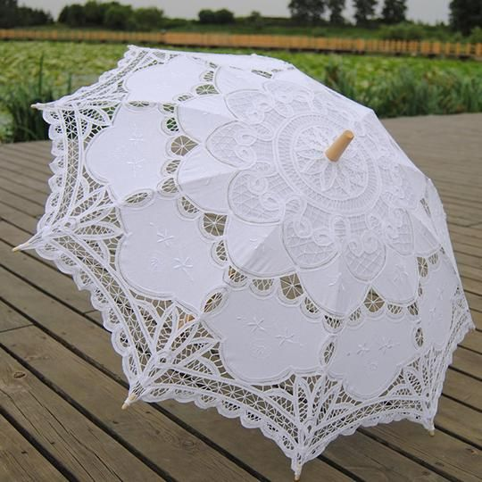 White Wedding Lace Parasol In 2020
