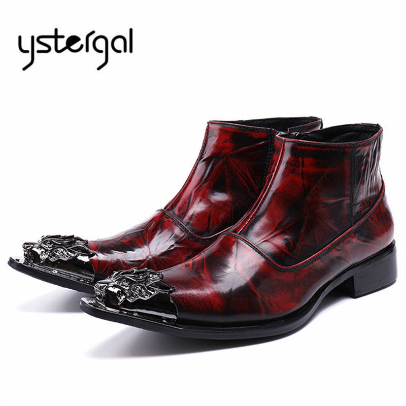 YSTERGAL Wine Rojo Leather hombres Genuine Leather Rojo Wedding boats Metal Pointed 5ebd04