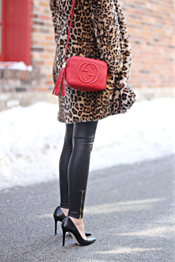leopard + leather + Gucci Bag =Outstanding