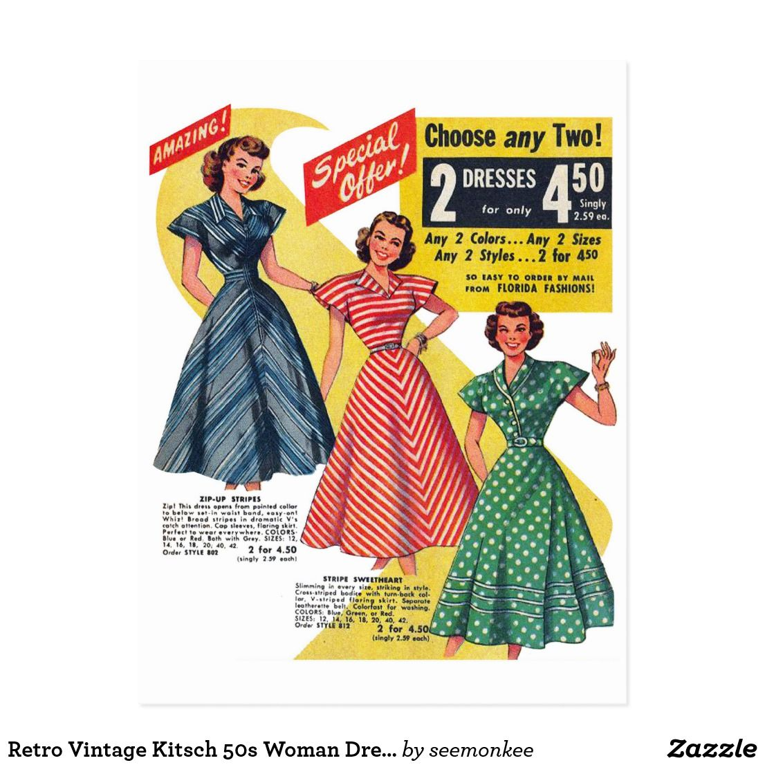 aa43e24f0c909 Retro Vintage Kitsch 50s Woman Dresses Fashion Ad Postcard | Zazzle ...