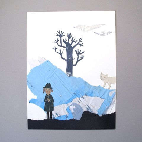 Emma Virke original art A bit Cold collage mixed media