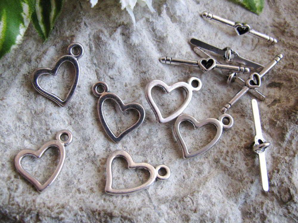 6 x Knebelverschlüsse Herz, Silberfarben, 1,85 cm, Verschluss, Perlen basteln,