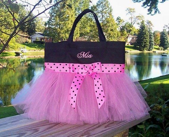 Embroidered dance bag Black Bag with Pink and Black por naptime21