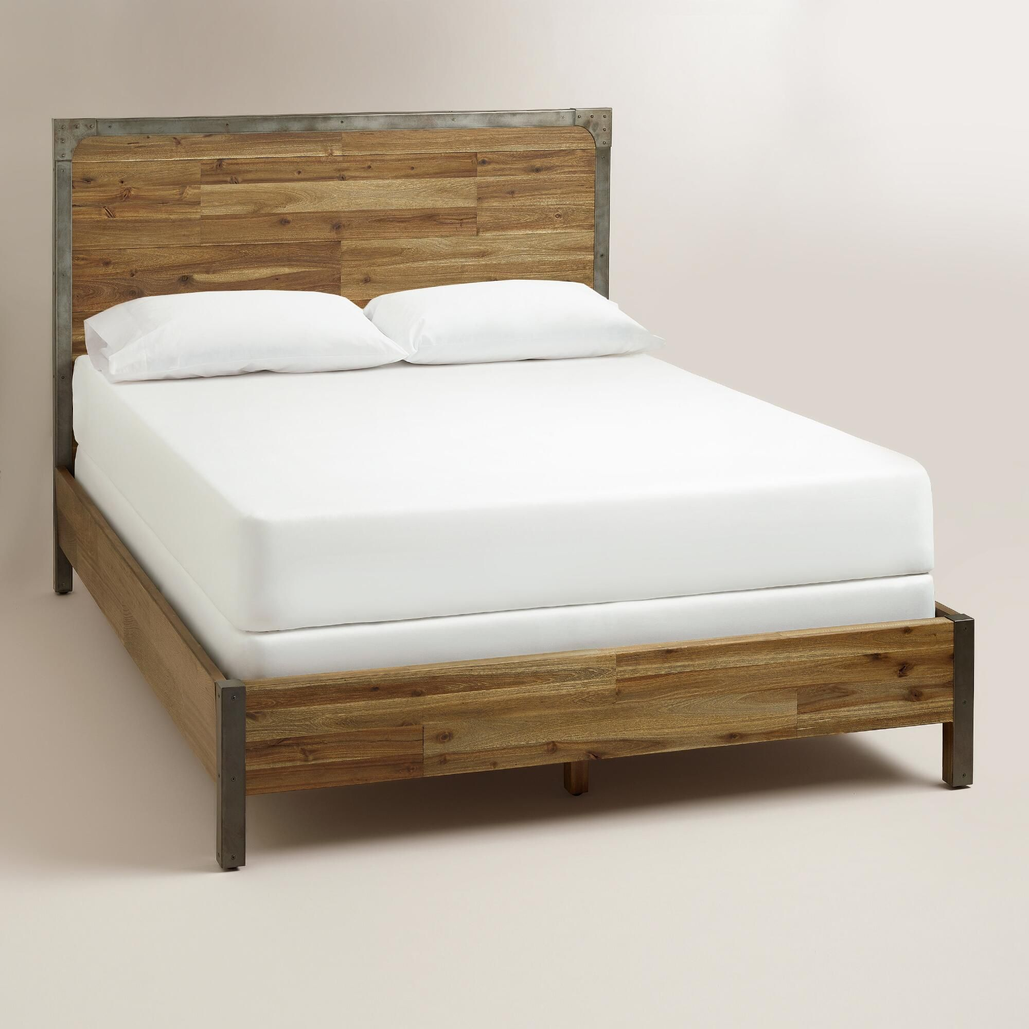 Combining Rustic Wood Construction With Metal Accents Our Aiden Queen Bed Is A Stunning Bedroom Center Bed Frame And Headboard Cheap Bed Frame Queen Bed Frame