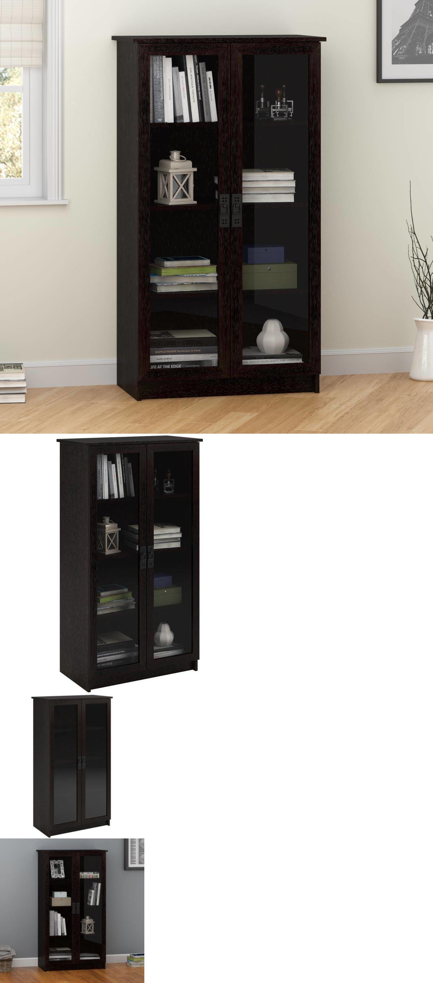Bookcases 3199 Storage Cabinet With 4 Shelves 2 Glass Doors Bookcase Black Cupboard Bookshelf BUY IT NOW ONLY 16778 On EBay