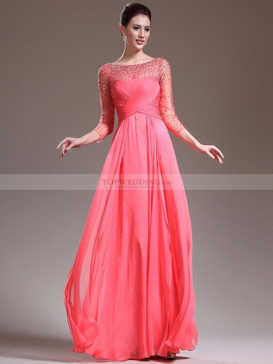Beaded three quarter sleeve tulle and chiffon a line mother of the