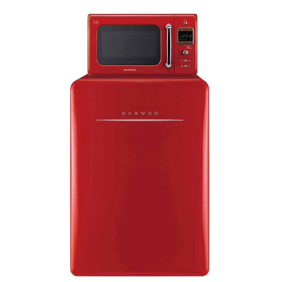 shop daewoo retro 2 8 cu ft freestanding compact refrigerator freezer compartment pure red at. Black Bedroom Furniture Sets. Home Design Ideas