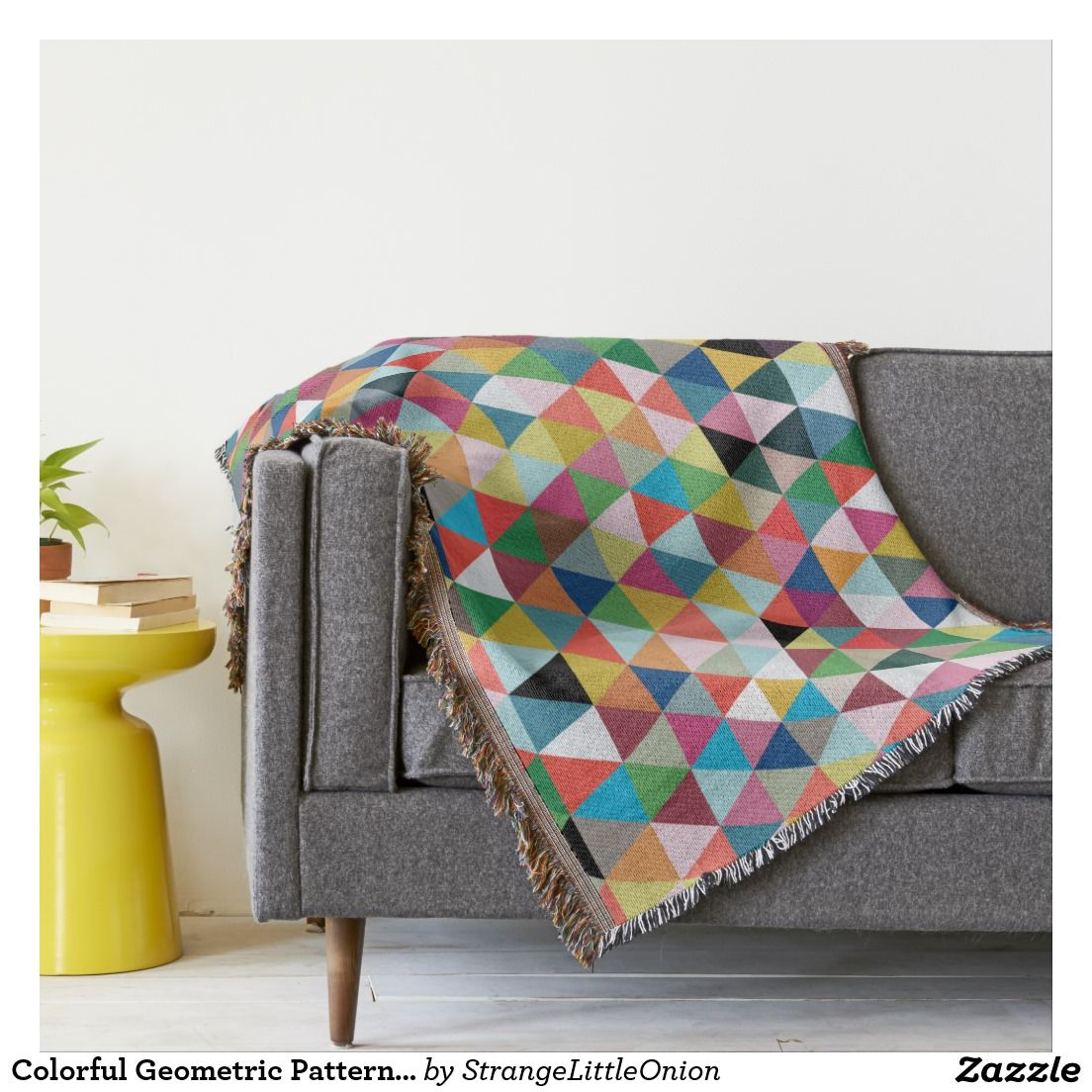 Colorful Throw Blankets Prepossessing Colorful Geometric Patterned Throw Blanket  Blanket Design Inspiration