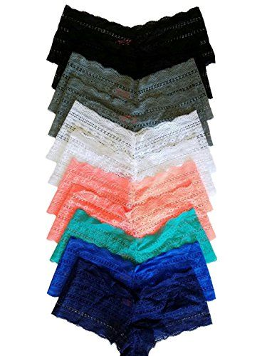 Plus Size Lace Panties Boy Shorts Cheeky's – 12 pack #shortslace