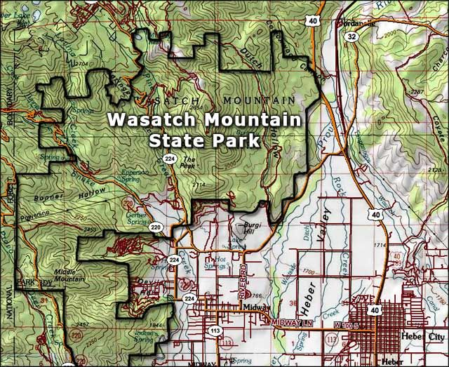 Wasatch Mountain State Park map, not far from heber | Wasatch ...