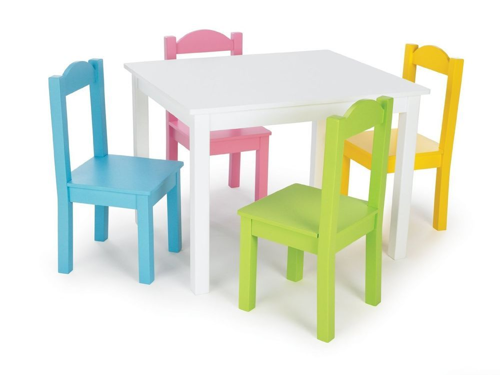 White Table 4 Pastel Colored Chairs Wood Set Kids Playroom Home Daycare Tottutors