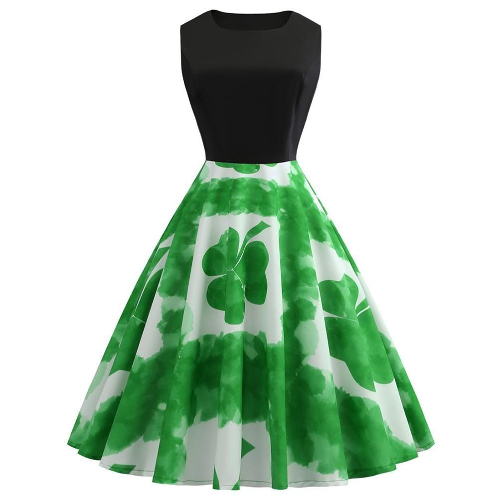 Prom Dresses for Women,Women St Patricks Day Halter Sleeveless Evening Party Prom Swing Dress