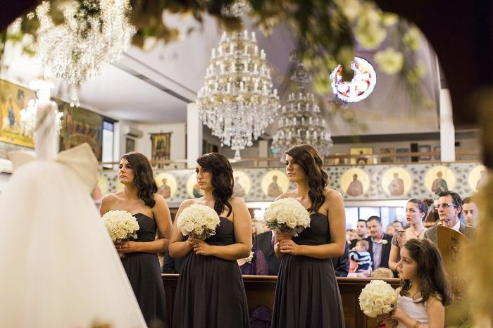 Bridesmaids in dark grey for A Big Fat Greek Winter Wedding | I take you