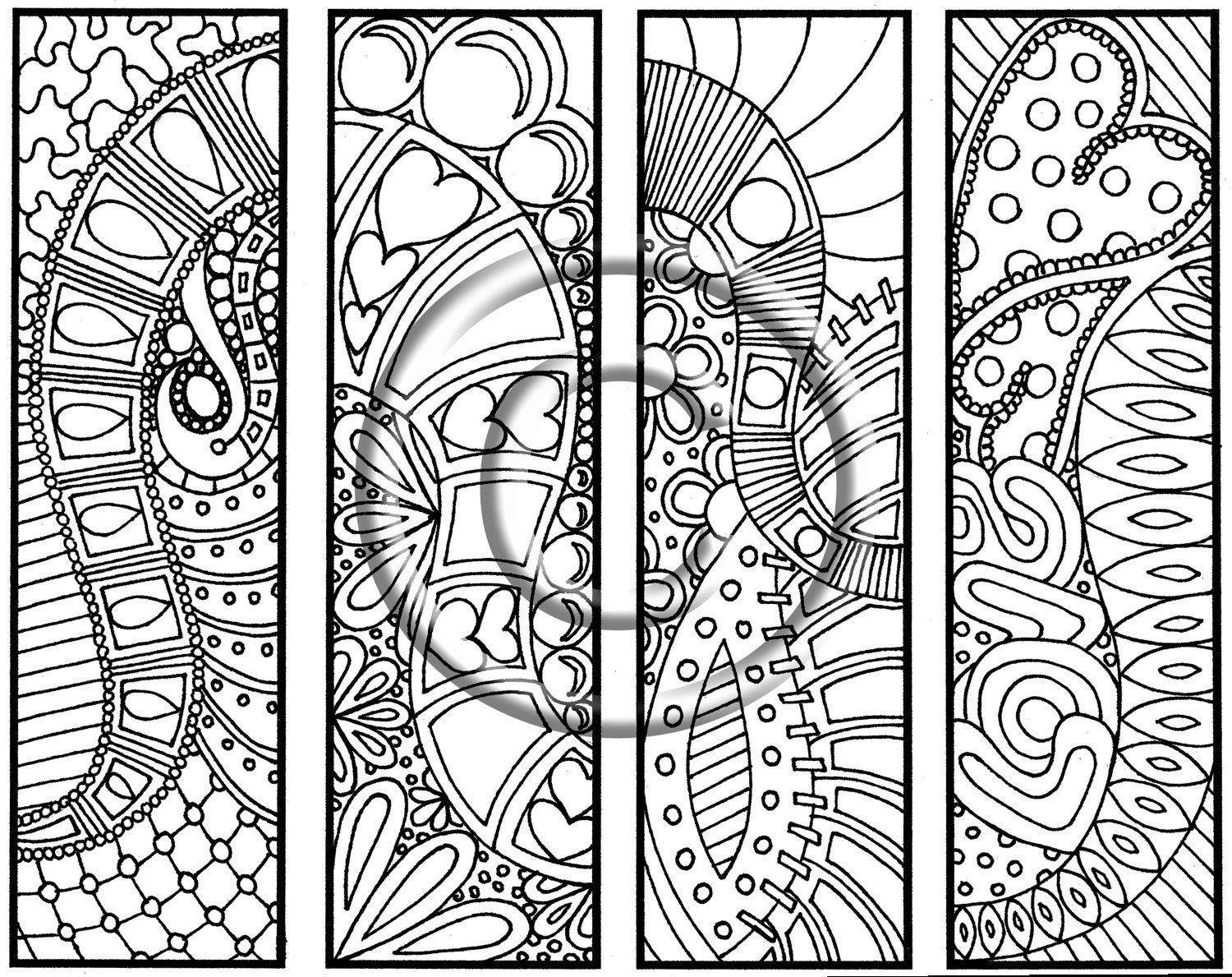 Printable coloring pages with words - Digital Download Coloring Page Hand Drawn Hearts Are Trump Bookmarks Hippie Abstract Zendoodle Bookmark