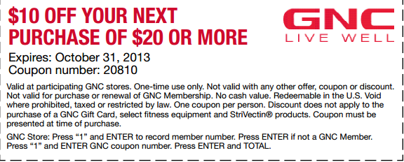graphic regarding Gnc Coupons in Store Printable identify Fresh new $10 off of $20 GNC Shops Coupon! Sites towards Stop by