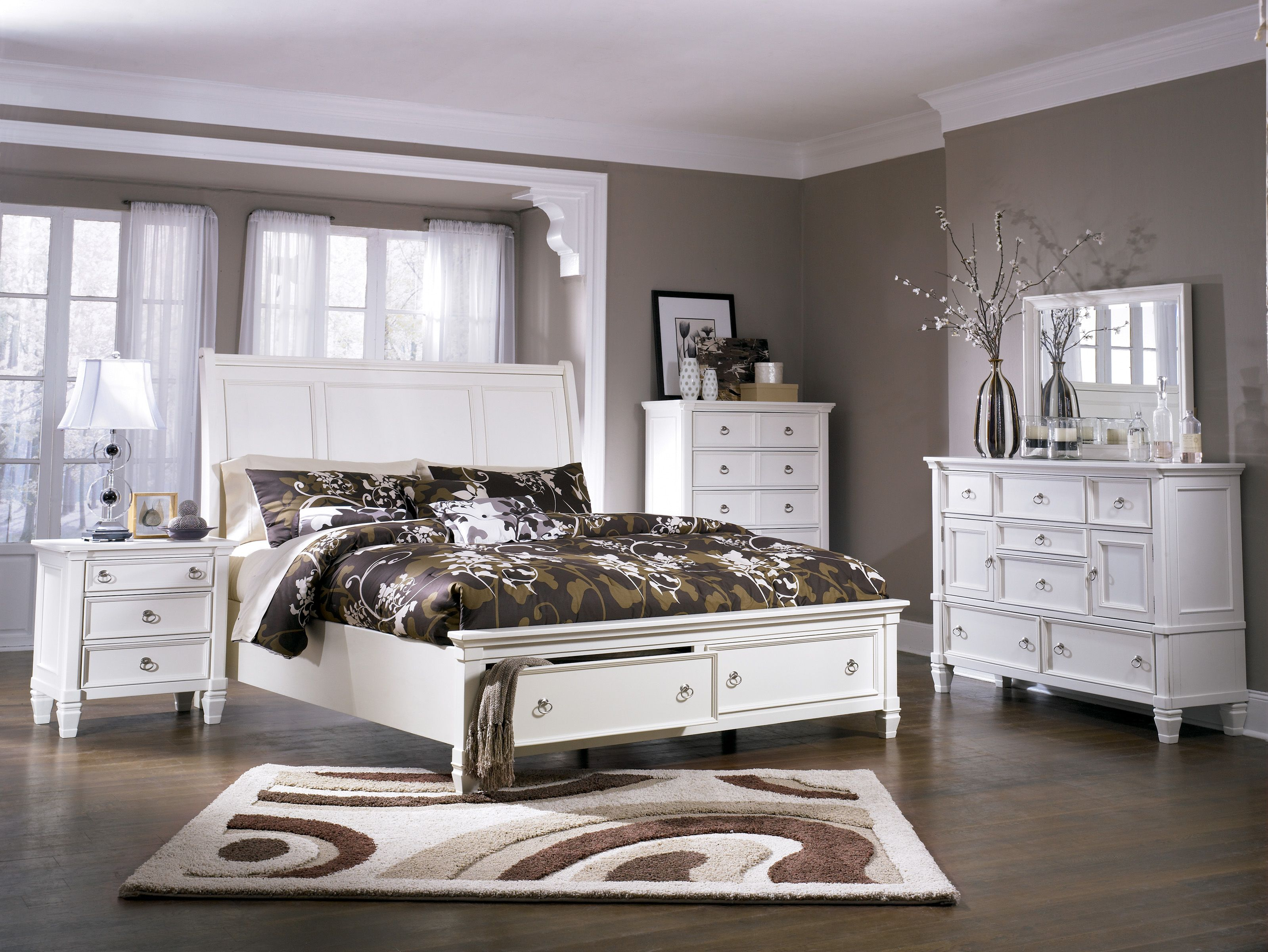 Ashley white bedroom furniture - The Prentice Sleigh Storage Bedroom Set From Ashley Furniture Homestore Maybe This One Because Of The Storage Option