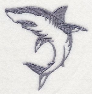 SHARK ATTACK SET OF 2 BATH HAND TOWELS EMBROIDERED BY LAURA