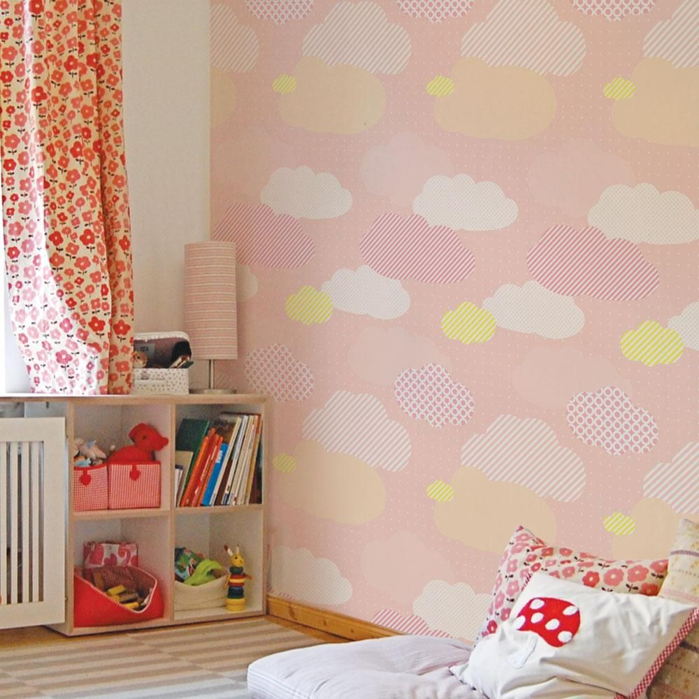 Clouds Peel And Stick Wallpaper Simple Shapes Fabric Wallpaper Kid Room Decor Cleaning Walls