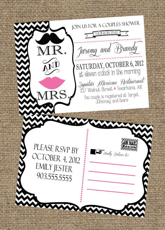 5x7 Couples Wedding Shower Invitation Postcard Front And