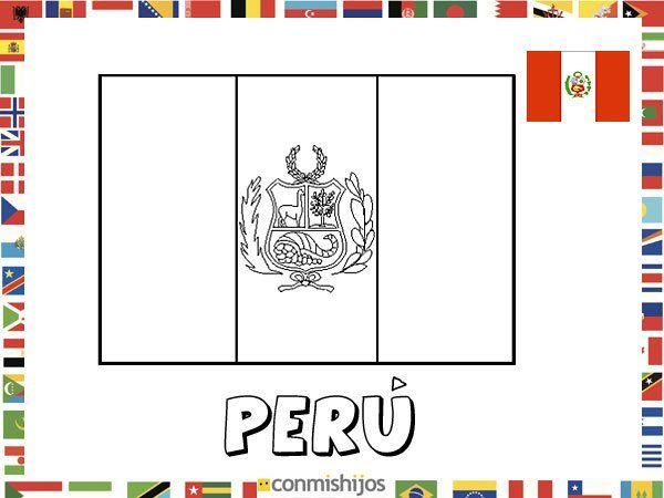 Bandera de Perú. Dibujos de banderas para pintar | ELE: Español como ...