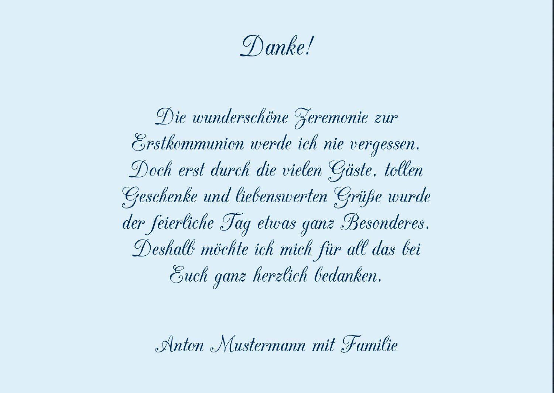 Danksagungen Kommunion, Rebstock 5 Karten, C6 Doppelklappkarte 148x105  Inkl. Umschläge, Blau: