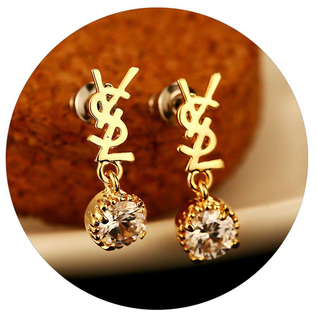 Promotions cubic zircon gold earrings drops for women girls gift