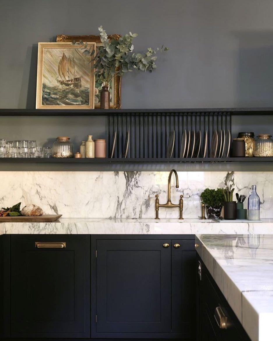 De Beauvoir Home On Instagram Inspiration From Farrowandball De Nimes In This Stunning Kitchen White Kitchen Design Black Kitchen Cabinets Kitchen Interior
