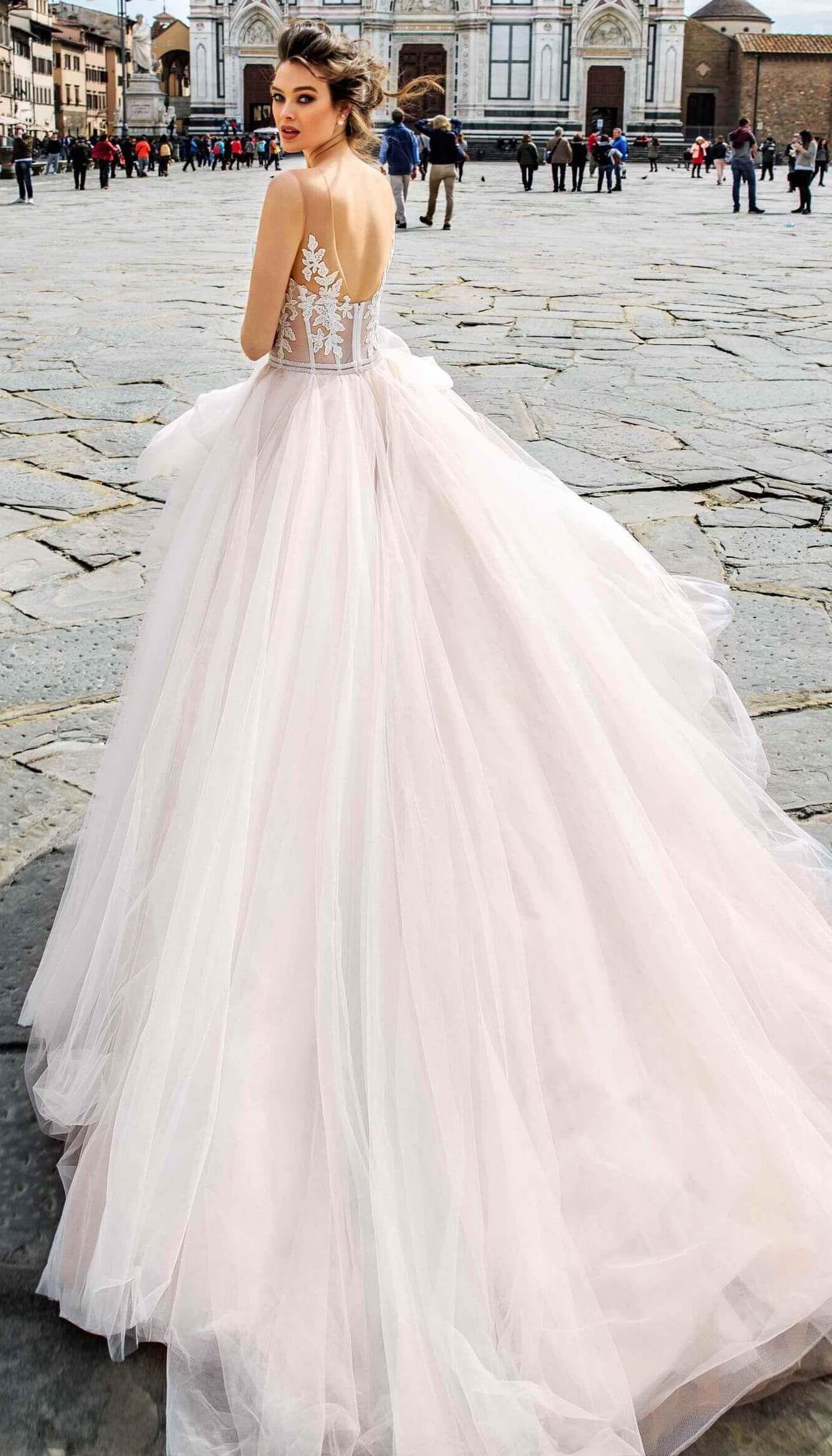 Blush Ball Gown Wedding Dress By Innocentia Ginevra Benci Romantic Backless Lace Bodice Tul Princess Wedding Dresses Wedding Dresses Ball Gown Wedding Dress