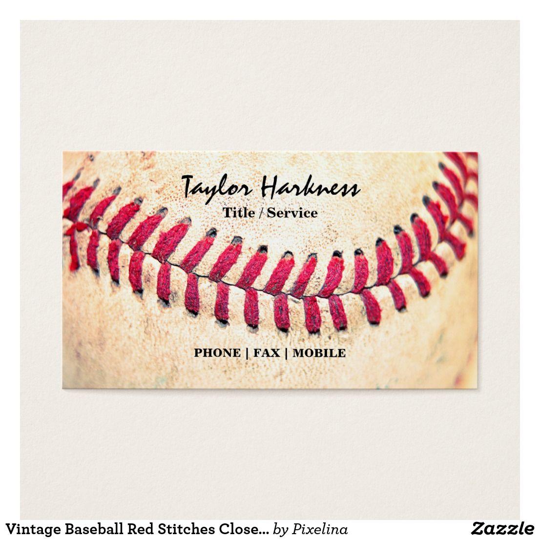 Vintage baseball red stitches close up photo business card vintage baseball red stitches close up photo business card colourmoves