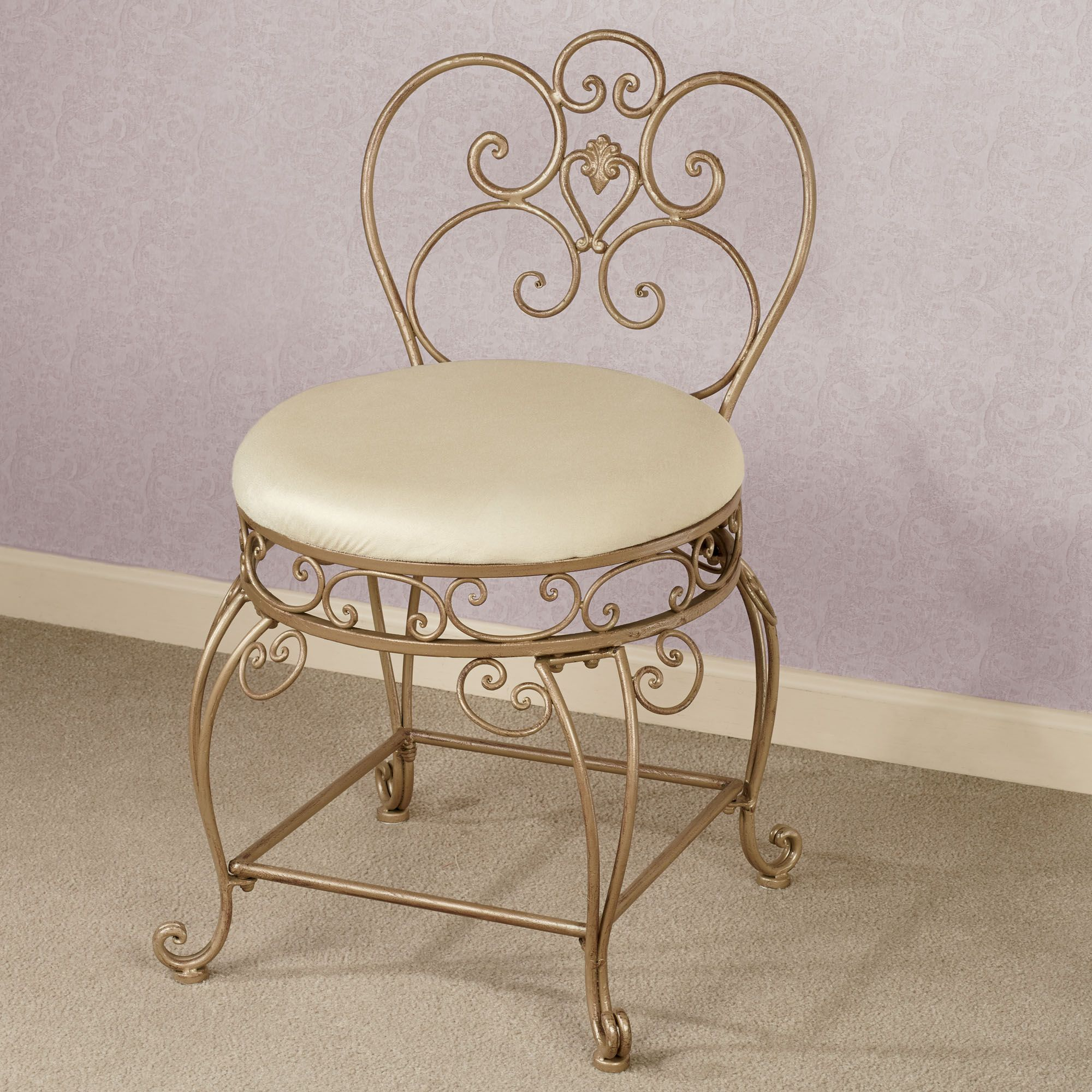 Aldabella Satin Gold Upholstered Vanity Chair