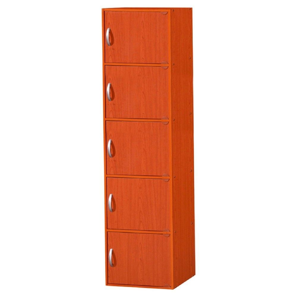 Hallway storage with sliding doors  Storage Cabinet Cherry Red  Hodedah Import  Products