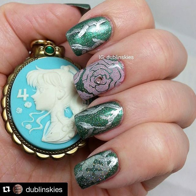 Sailor Jupiter nail art! The Rose is so sweet ! #Repost @dublinskies ...