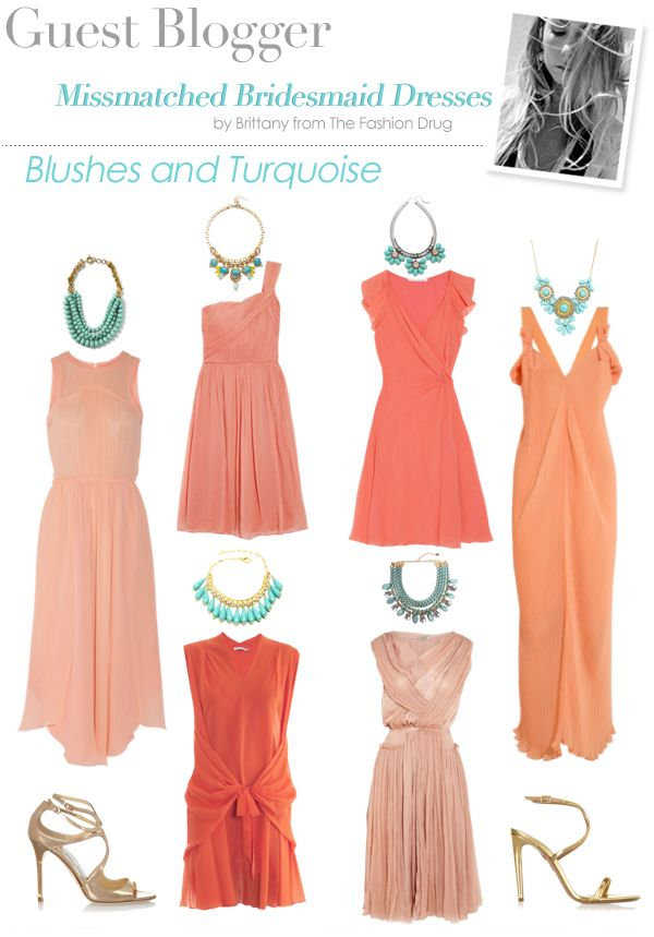 Aisle style coral bridesmaid dresses turquoise necklace for Jewelry to wear with coral dress
