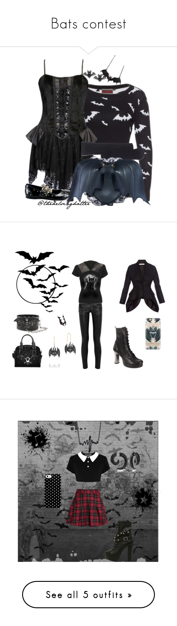 """Bats contest"" by sunako-nakahara ❤ liked on Polyvore featuring bat, goth, gothic, bats, alternative, Madewell, Demonia, women's clothing, women and female"