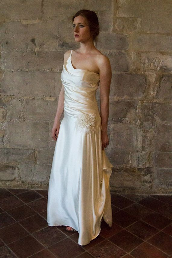 1920s Vintage Style Wedding Dress Silk Wedding Dress Bias Cut