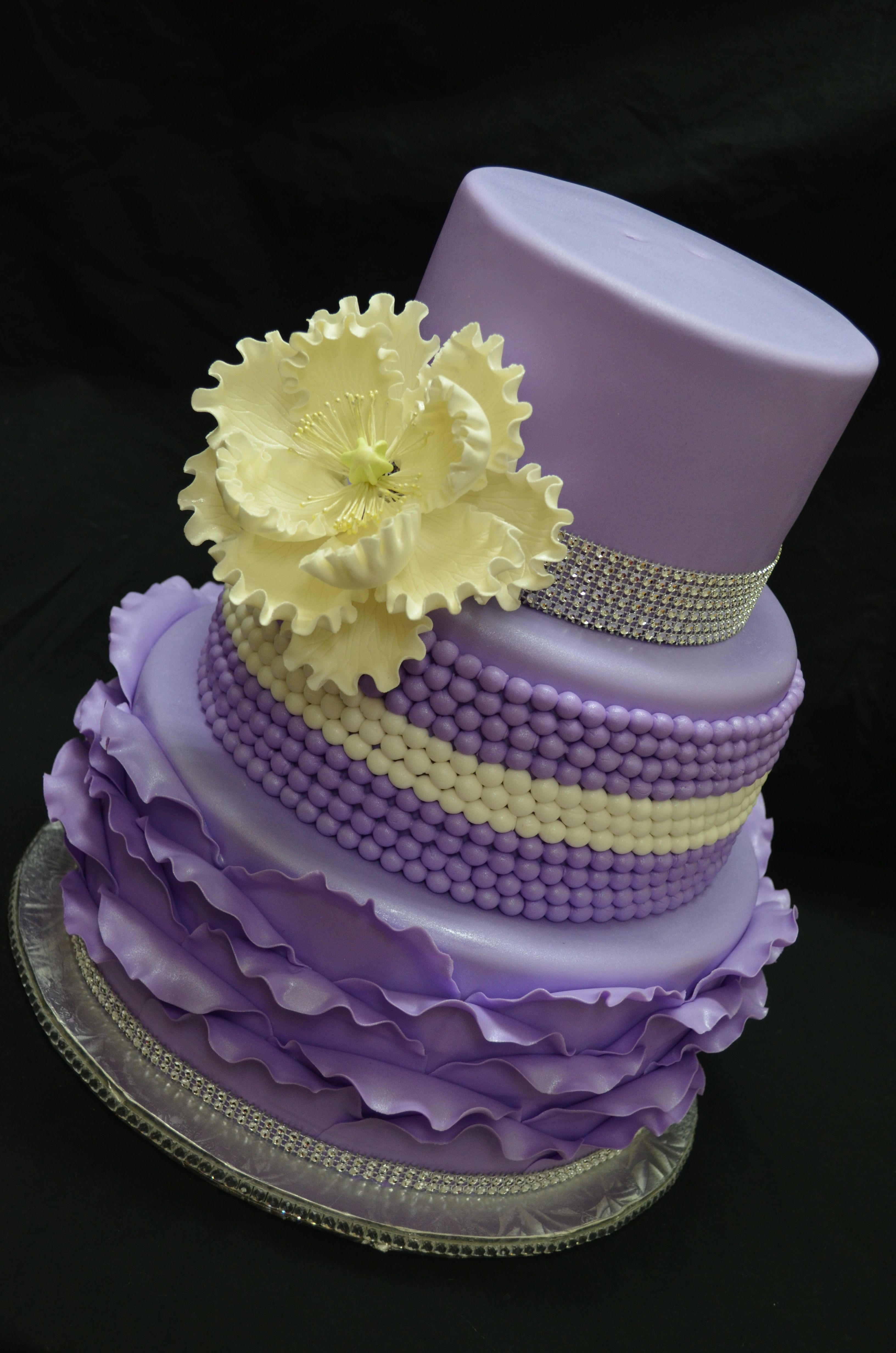 Purple and bling - This cake was created for my cousin for ...