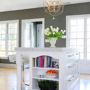 Kitchen Island Bookshelf, Contemporary, Kitchen, Benjamin Moore Chelsea  Gray, Normandy Remodeling