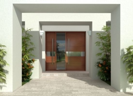 Puerta de entrada principal moderna y de madera maciza for Puertas de madera para entrada principal de casa modernas