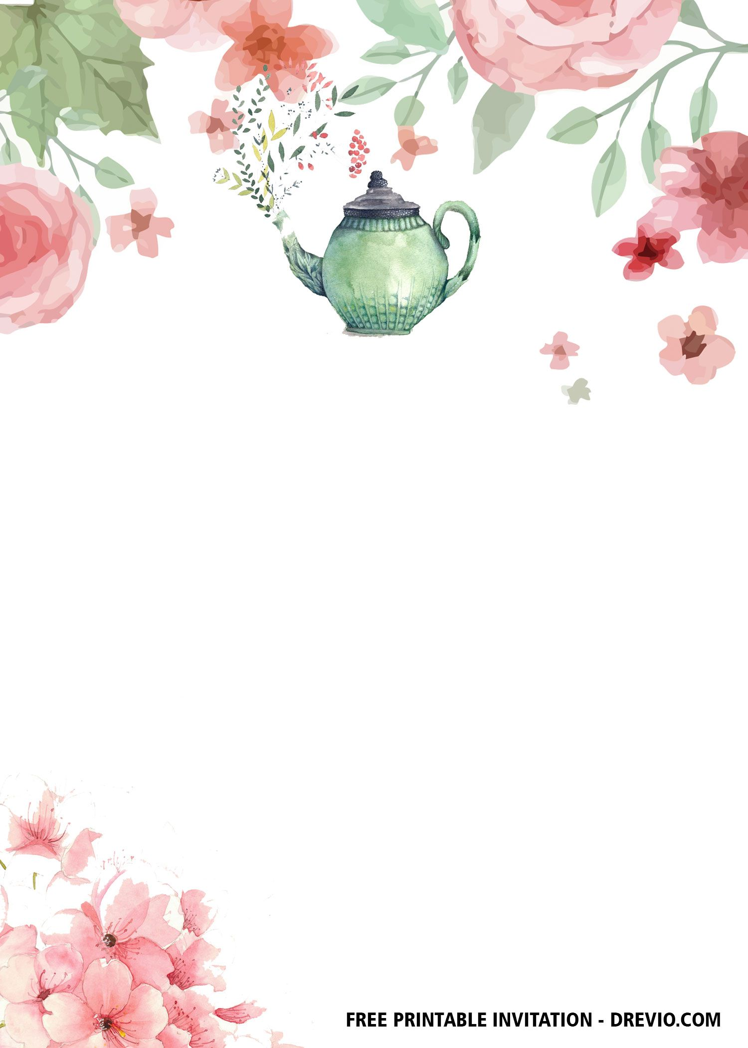 Free Floral Tea Party Invitation Templates Party Invite Template Tea Party Invitations Party Invitations Printable