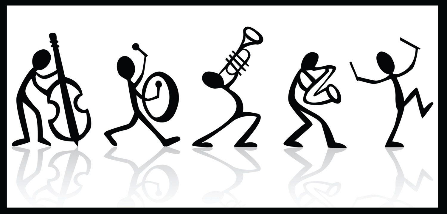 Musical Stick Figure Band Black And White Poster On Ultra