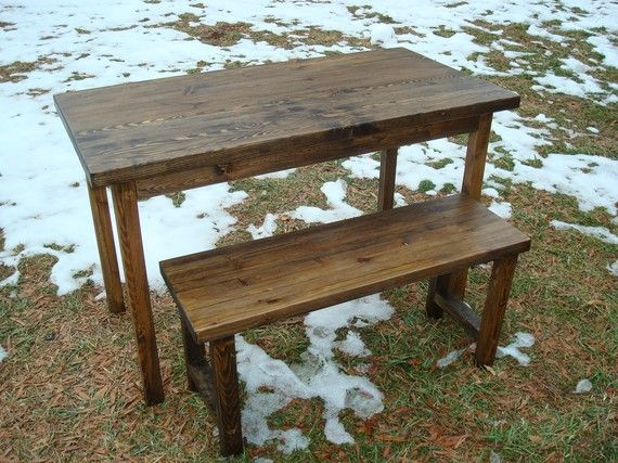 Wood Table and Bench Set