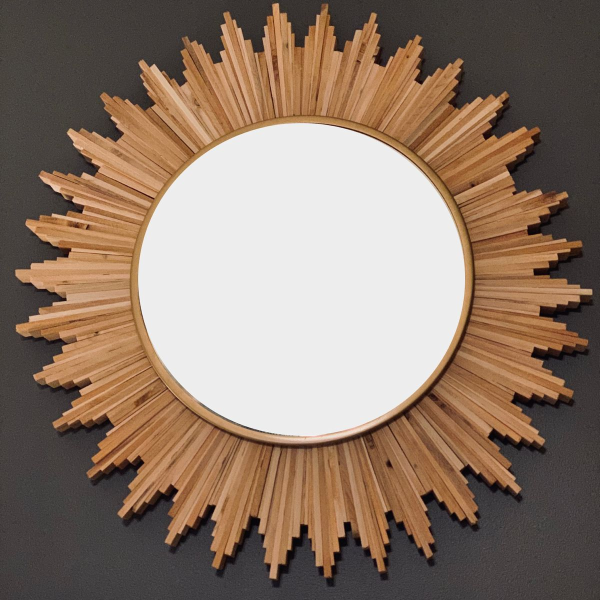 Natural Wood And Bronze Rustic Sunburst Wall Mirror With Images