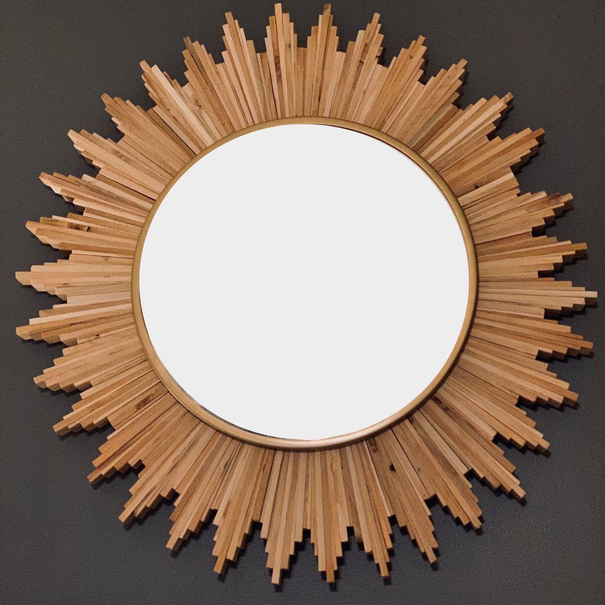 Natural Wood And Bronze Rustic Sunburst Wall Mirror With Images Sunburst Mirror Sunburst Mirror