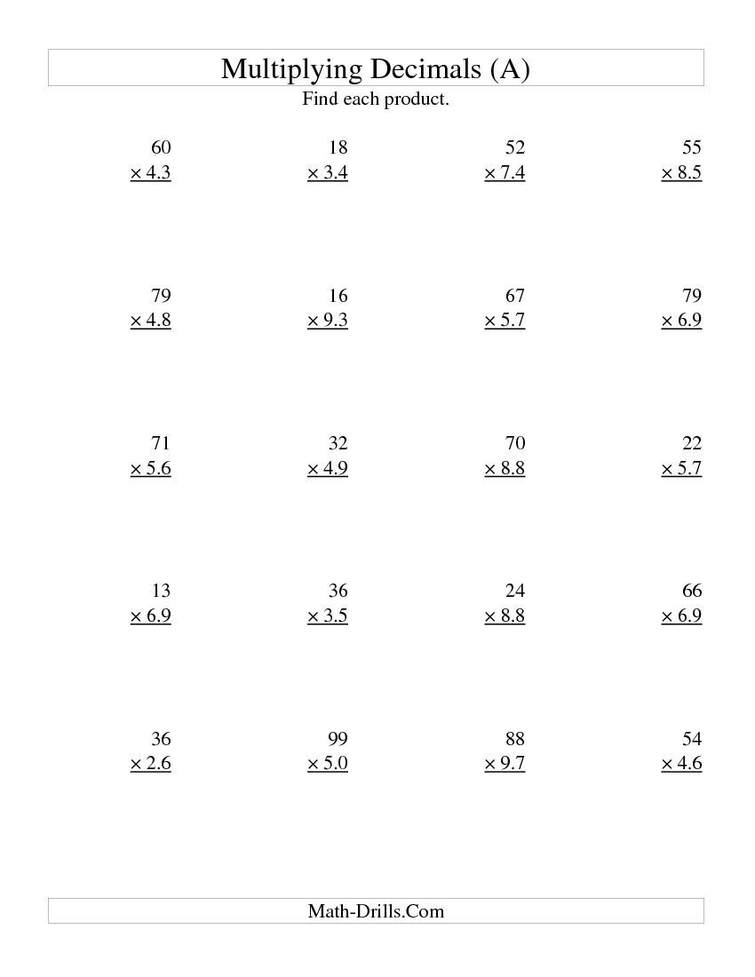 medium resolution of Multiplying Two-Digit Whole by Two-Digit Tenths (All)   Multiplying decimals
