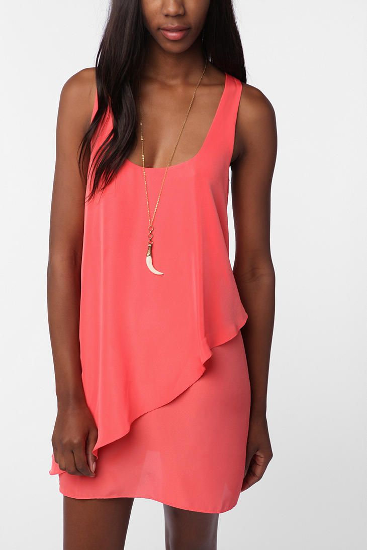 Silence & Noise Layered Tank Dress (in Coral)