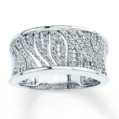 Diamond Leaf Ring 3/8 ct tw Round/Baguette Sterling Silver