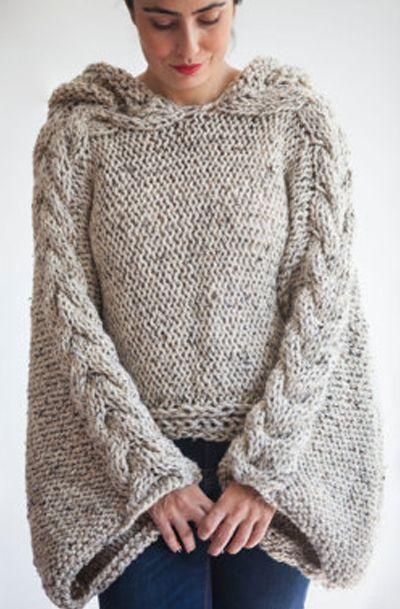 Tweed Beige Angel Sweater Capalet with Hoodie - Over Size Plus ...