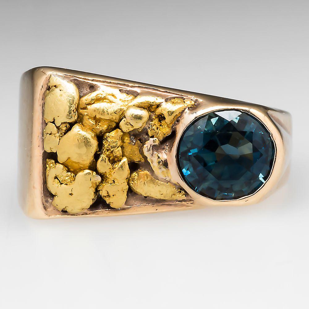 Montana Sapphire 24k Natural Gold Nugget Band Ring 14K Gold Mens