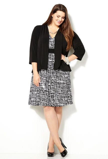 4a90c34b7db Enlarged Tweed Jacket Dress-Plus Size Dress-Avenue  business casual dres  appropriate for work