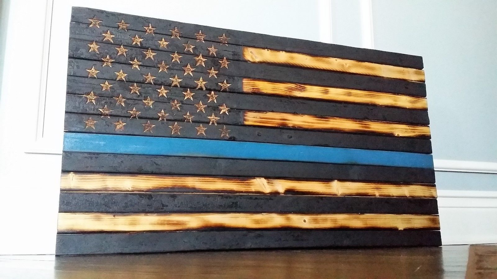0bf5e907a4c American Flag Rustic Distressed Wood Wall Art Blue Line LED Backlit in Home    Garden